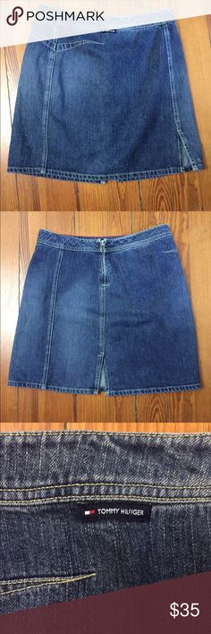 "Tommy Hilfiger Denim Skirt Size 4 Vintage 100% Cotton.  Waist laying flat: 15"" Length: 19"" Tommy Hilfiger Skirts A-Line or Full"