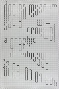 "This is a poster Designed by Philippe Apeloig featuring the text ""design museum/ Wim/ Crouwel/ a graphic/ odyssey/ 30.03 – 03.07 2001″ printed in black with white dots arranged against a light gray background and darker gray grid."