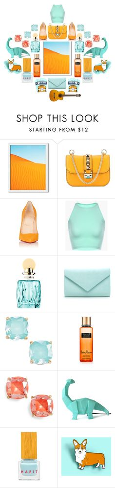 """""""Passion fruit and Lemonade with an Umbrella"""" by numbsunday ❤ liked on Polyvore featuring West Elm, Valentino, Christian Louboutin, Miu Miu, Kate Spade, Disaster Designs, Habit Cosmetics and Corgi"""