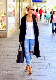 How to wear distressed denim over 40...keep the rest of the outfit classic.