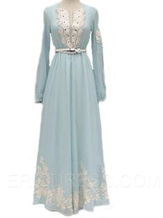 Ericdress Print  Long Sleeve Maxi Dress Maxi Dresses