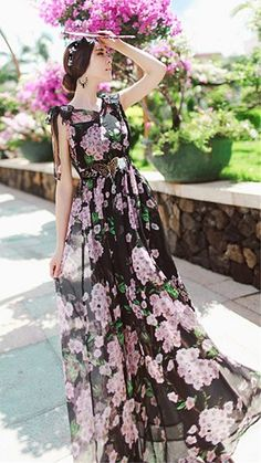 Cherry Blossom Black And Pink Chiffon Long Dress. Summer Floral Dress