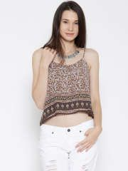 FOREVER 21 Women Off-White & Brown Printed Crop Top