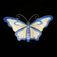 Butterfly Pin Sterling Silver with yellow and blue Enamel, Norway