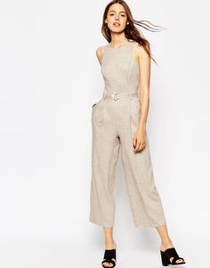 Image 1 of ASOS Premium Texture Jumpsuit with D-Ring Detail