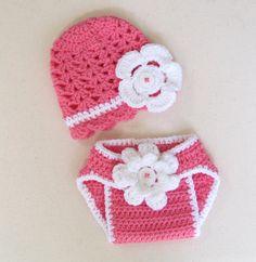 Crochet baby summer hat & diaper cover set