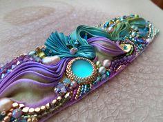 """CUFF """"Il Giardino Sul Mare"""" (work in progress) Design by Serena Di Mercione --- bead embroidery and shibori silk ribbon"""