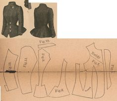 Der Bazar 1886: Springtime paletot from black fluffy fabric with silk lining; 6. overlapping front lapel, 7. front part, 8. side gore, 9. back part, 10. collar in half size, 11. and 12. sleeve parts