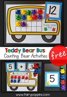 """These free """"Teddy Bear Bus"""" math activities help kids learn about numbers up to twenty and basic sums. They're great for kids in preschool, kindergarten and first grade. - Kids education and learning acts Preschool Learning, Teaching Math, Preschool Activities, Preschool Kindergarten, Addition Activities, Kindergarten Addition, Subtraction Activities, Addition Games, Counting Bears"""