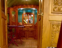 look at the woodwork in this gypsy wagon