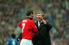 The man they called 'Le Roi', Eric Cantona, is congratulated by @manutd manager Sir Alex Ferguson following the Reds' 2-1 win over Chelsea in the 1996 FA Cup semi-final.