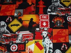 fq 911 emergency RESCUE fire HERO fireman DALMATION dog flame FAT QUARTER fabric