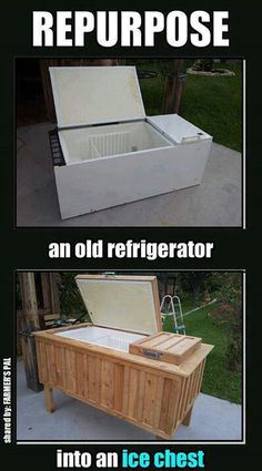 Repurpose an old refrigerator into an ice chest ~ this is amazing! If you need a HUGE ice chest, just be sure to add a lock to keep the kids out. Outdoor Projects, Home Projects, Outdoor Decor, Outdoor Fun, Outdoor Living, Outdoor Ideas, Repurposed Furniture, Diy Furniture, Repurposed Items