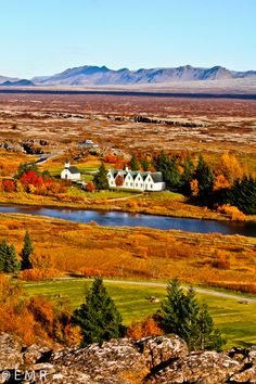 Beautiful place to visit at autumn. Thingvellir in Iceland.