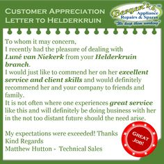 Give credit where it's due.  Well done Luné van Niekerk and the Helderkruin Branch Crew for service excellence and being recognized by your customers.  #greatjob #customerservice #customersatisfaction #wekeepthemworking #bergensappliances #repair Helderkruin Branch  Follow us on Instagram and Pinterest WhatsApp:   071 682 1036 Email:   helderkruin@bergens.co.za Van Niekerk, Appliance Repair, Customer Appreciation, Bergen, Customer Service, Lettering, Happy, Instagram, Customer Support