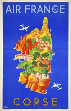 Corse , Corsica - Vintage travel beach poster #essenzadiriviera www.varaldocosmetica.it