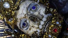 Weyarn, Germany, St. Valerius skull detail. The elaborately decorated relic of the presumed martyr from the Roman Catacombs arrived in the town's monastery church in the early 18th century.