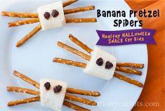 Healthy Halloween Snack #3: Banana Pretzel Spiders