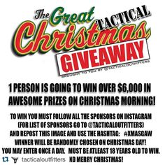 Incredible #Christmas #Giveaway contest from our friends at @tacticaloutfitters with some truly awesome prizes! Definitely get in on this because someone is going to walk away with some phenomenal gear--including a pair of LALO Shadow boots! Details below! #LiveLALO #LALOTactical #HappyHolidays #MerryChristmas  #Tactical #Gear  Repost @tacticaloutfitters  ONLY A FEW MORE DAYS TO GET IN ON THIS!!! The Great Tactical Christmas Giveaway is a go! One lucky person is going to win over $6000 worth…