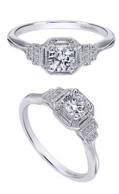 A 14k White Gold Victorian Halo Engagement Ring