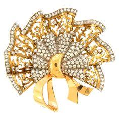 Retro Gold & Diamond Bow Brooch Circa 1940