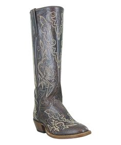 Loving this Distressed Brown Round Toe Leather Cowboy Boot on #zulily! #zulilyfinds