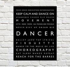 Dancer - Dancer Decor - Dancer Typography Prints can be Personalized to include your Dancers Name. Motivational words to celebrate and inspire your Dancer. Ballet, Tap, Jazz or  Lyrical. Explore our entire collection of Sports Typography Prints to celebrate the Athlete in your life! #Dance