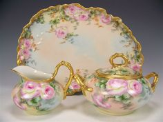 Gorgeous Limoges France Roses Afternoon Tea Service, Elegant Tea Set from oldbeginningsantiques on Ruby Lane