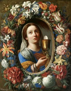 A Garland Of Flowers With A Female Saint Holding The Eucharist, Probably Saint Barbara By Florentine School Religious Pictures, Religious Icons, Religious Art, Saint Barbara, Colonial Art, Catholic Saints, Patron Saints, Roman Catholic, Holy Mary
