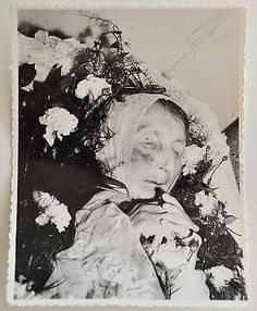 Old Vintage Post-Mortem Funeral Photo Deceased Woman In Coffin