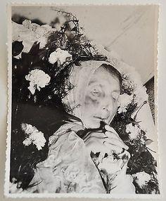 Old Vintage Post-Mortem Funeral Photo Deceased Woman In Coffin