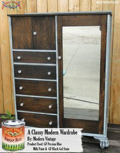 General Finishes Persian Blue and Java Gel Stain are the perfect combination for this wardrobe.  Great job Modern Vintage, https://www.facebook.com/TRWModernVintage?fref=ts.  #generalfinishes #gfmilkpaint #javagel #gfgelstain