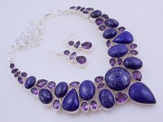 free shipping 133 gram stunning faceted LAPIS LAZULI-AMETHYST .925 sterling silver handmade  necklace with earring by OCEANJEWELLERS on Etsy