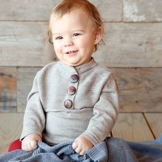 This Cocoa Three-Button Organic Wool Sweater - Infant d7a46f9fcb90
