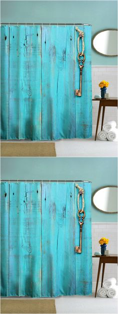 $13.73 Thicken Woody Door Polyester Shower Curtain with Hooks