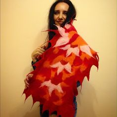 """Beautiful red scarf, natural wool, handcrafted Felted scarf """"Flower of fire"""".  Treat yourself to the cozy, luxurious fibers of this scarf with a 100% merino wool. Soft enough to be worn next to the skin.  This handcrafted scarf is an eco fashion product. It means it is 100% eco-friendly. Luxury is natural!  Size: L 110 cm (43 in)/ W 35 cm (14 in) Handcrafted by me Accessories Scarves & Wraps"""