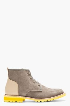 JUNYA WATANABE Grey & Beige Lace-Up Ankle Boots
