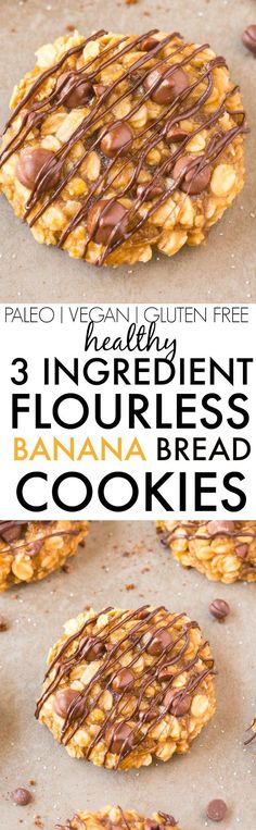 Healthy THREE Ingredient FLOURLESS Banana Bread Cookies- Thick, chewy and gooey banana bread cookies made with NO butter, NO oil and NO SUGAR- So easy and the perfect snack or dessert! Patisserie Sans Gluten, Dessert Sans Gluten, Paleo Dessert, Gluten Free Desserts, Banana Bread Cookies, Easy Banana Bread, Cookies Et Biscuits, Raisin Cookies, Gluten Free Recipes