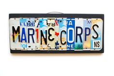 MARINE CORPS license plate art OOAK military sign by UniquePl8z, $85.00