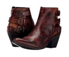 Old Gringo. Yippee Ki Yay by Old Gringo. Cushioned leather footbed and leather lining for comfort. Various warm tones of distressed brown throughout with side zip closure. Brown Leather Boots, Brown Boots, Leather Ankle Boots, Buckle Boots, Ankle Shoes, Ankle Booties, Bootie Boots, Tall Cowgirl Boots, Western Boots