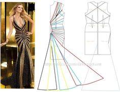 Modelagem de vestido. Fonte: https://www.facebook.com/photo.php?fbid=723516854343922&set=a.720594151302859.1073741845.143734568988823&type=1&theater
