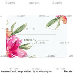 Romantic Floral Design Wedding Table Place Cards Romantic Watercolor Flower Painting Design Wedding Table Place Cards. Matching Wedding Invitations, Bridal Shower Invitations, Save the Date Cards, Wedding Postage Stamps, Bridesmaid To Be Request Cards, Thank You Cards and other Wedding Stationery and Wedding Gift Products available in the Floral Design Category of our Store.