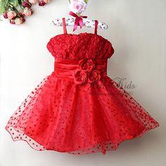 New Fashion Infant Girl Dress Red Dot Girl Party Dress For Kids Flower Princess Dress 6PCS/lots Children Clothes GD21029-17^^HK $80.57