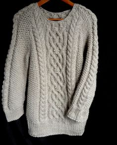 Hand knit wool sweater by MariyaMitov on Etsy Beige Color, Wool Sweaters, Warm And Cozy, Hand Knitting, Cable, How To Make, How To Wear, Men Sweater, Pullover