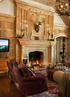 Deer Head Living Room English Country New Thought Lodge Style Living