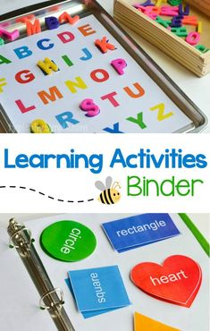 Create a preschool learning activities binder with a free printable for letters and shapes.