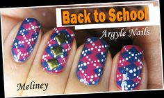 BACK TO SCHOOL ARGYLE NAIL DESIGN | PLAID CHECK FLANNEL NAIL ART TUTORIAL | COLLAB WITH KIM DAO meliney video
