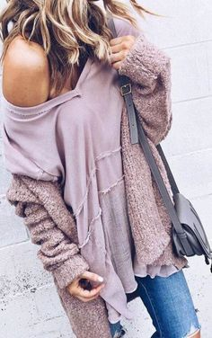 Comfy Dusty Pink Open Front Cardigan