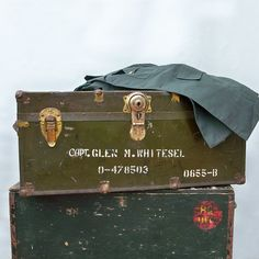 """WWII U.S. Army Officer's Footlocker, Steamer Trunk  """"With Officer's Name & Provinance"""" by leapinglemming on Etsy"""