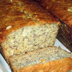 Banana Bread Sweet and fluffy Recipe | Subbed coconut oil for butter, used white whole wheat flour, used 1/4 cup ea honey, brown sugar and white sugar, added 1/4 cup walnuts and 2 tbsp milled flax seed, cooked as 15 muffins for 20 minutes. Turned out very well.  153 calories each, 6g fat (0 trans fat), 3g protein, 8g sugars, 21 total carbs, 2g dietary fiber.